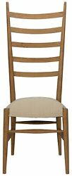 50 Tall Set Of Two Dining Chair Solid Teak Wood Brown High Back Cotton Cushion