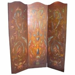 Antique Italian Hand Painted Oil On Canvas Room Screen Circa 1915