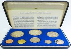 1973 Silver Barbados 8 Coin Collectorand039s Proof Set Franklin Mint Km Ps1