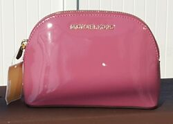 New Michael Kors Jet set travel pouch make up case cosmetic bag leather