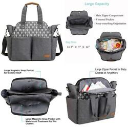 Lekebaby Large Diaper Bag Tote Satchel Messenger For Mom And Girls In Grey Arrow