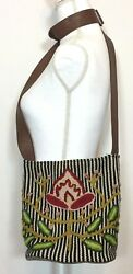 Jenny Krauss Handmade Wool Embroidered Bucket Floral Striped Purse Bag