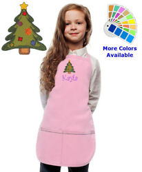 Personalized Kids Christmas Apron with Christmas Tree Embroidery Design Monogram $20.98