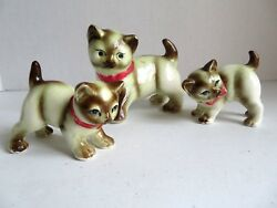 Vintage Ceramic Painted Siamese Cat and 2 Kittens with Red Bows #7330 Figurines