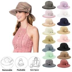 Women#x27;s UPF50 Foldable Packable Summer Sun Beach Straw Hat Cap $12.99