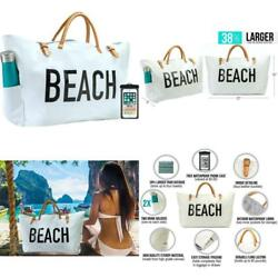 New Beach Bag Xxl Canvas Tote For Women Oversized Waterproof Lining 2 Drink Tax0