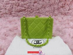 CHANEL VINTAGE LIME GREEN LAMBSKIN QUILTED MINI BOX BAG CLUTCH