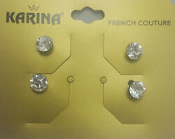 Karina - French Couture Crystal Stud Hair Coils - White Diamond (Set of 6)