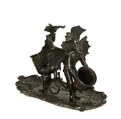 Large Vienna Style Bronze Double Devil Figure Match Holder With Tray