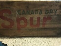 1950's Canada Dry Spur Cola Crate Wooden Soda Bottle Ginger Ale Wood Box Vintage