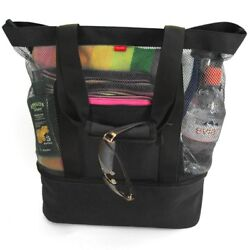Mesh Beach Tote Bag with Insulated Picnic Cooler Black