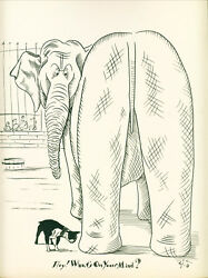 Dog Print 1935 Boston Terrier Dog and Elephant VINTAGE Funny