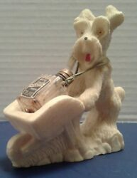 Vintage Scottie Terrier Dog Figurine White Salt Stone with perfume bottle