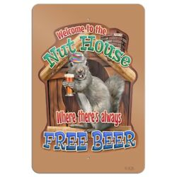 Welcome To The Nut House Always Free Beer Home Business Office Sign