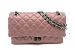 Auth Chanel 2.55 Chain Shoulder Bag Calfskin Leather Metallic Pink 7524