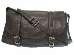 AUTH CHROME HEARTS G BENSIMONE Leather Messenger Bag Shoulder Dark Brown 0175