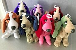 HUSH PUPPIES PLUSH BEANBAGS BASSET HOUNDS SET OF 7 VINTAGE APPLAUSE