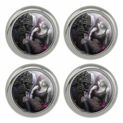 Goth Girl Dressed in Black Tattoos Metal Craft Sewing Novelty Buttons Set of 4
