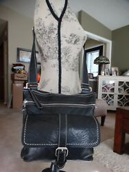 ROOTS LEATHER MULTI-COMPT. CROSS BODY BAG