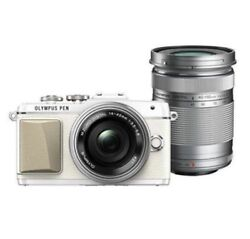 Used Olympus E-pl7 16mp With Ez 14-42mm + 40-150mm White Excellent Free Shipping