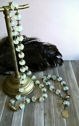 Antique Victorian French Silver 800 And Opalescent Beads Rosary Bracelet Necklace