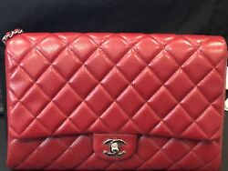 Auth Chanel 12A RED CAVIAR Classic Flap Bag *Clutch With Chain*  Silver HW