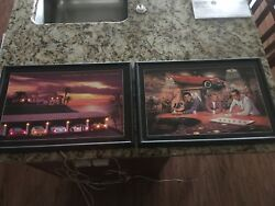 Pair Of Vintage 18 By 13 Inch Lighted Signs