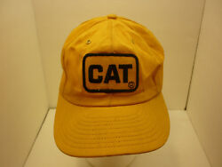 Vintage Nwot Cat Yellow Cotton Patch Fitted Hat Cap Louisville Rare Caterpillar