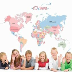 World Map Removable Decals Bedroom Kids room Wall Stickers PVC Art Murals Decor