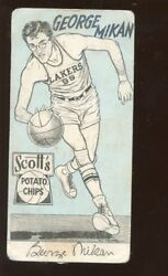 1950 Scott's Potato Chip Minneapolis Lakers Basketball Card George Mikan
