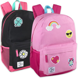Lot of 24 Wholesale 18 Inch Patches Backpack With Side Pockets For Boys or Girls