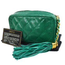Auth CHANEL CC Quilted Fringe Cosmetic Pouch Bag Green Lizard Italy AK17107h