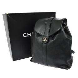 Authentic CHANEL CC Logos Backpack Bag Black Caviar Skin Leather Vintage N00557