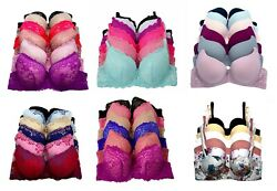 6 pcs Lace Woman Full Cup  Demi Underwired Light Padded BC Bra $21.90