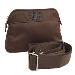 Auth HERMES Bolide Pouch TPM 2way Cosmetic Bag Brown Cotton Polyamide JT06248