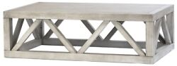52 Michelina Coffee Table Solid Wood Latice Pattern Base Antique White Washed