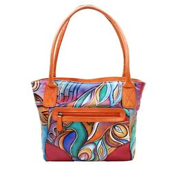 Abstract Designer Shoulder Shopping Bag Women Leather Hand Painted Tote Stylish