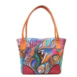 Women Leather Hand Painted Tote Stylish Abstract Designer Shoulder Shopping Bag