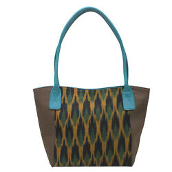 Women Shoulder Bag combination with Leather and Fabric Designer Shopping Vanity