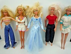 Bundle Of 5 Vintage 1980-90's Barbie Dolls And Outfits / Clothes