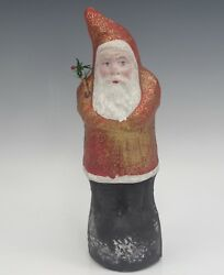 C.1900 Antique German Paper Mache Belsnickle Santa Red And Gold Robe 9 Mica