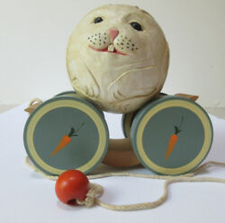 Vintage Briere Folk Art Wooden Pull Toy1986 Bunny Rabbit Ball And Pull Cart 2186