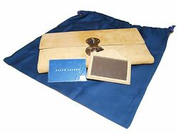 Polo Ralph Lauren Collection Womens Suede Leather Clutch Purse Wallet Italy Tan