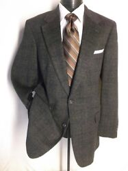 Brooks Brothers 100 Camel Hair Gray Windowpane 2 Button Sport Jacket Size 43l