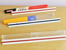 Vintage Triangular Architect Drafting Engineering Scale Ruler Lot Of 3 Bruning