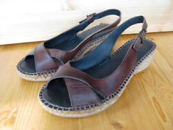 Eric Michael Leather Sandals 36 BROWN Espadrilles Sling 5.5 Low Wedge $29.00