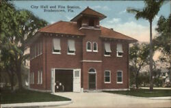 Bradentown FL City Hall Fire Station c1910 Postcard EXC COND