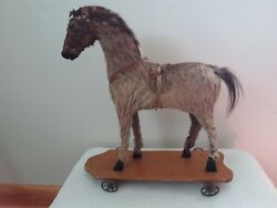 Horse Pull Toy, German , Wooden Base W/all 4 Wheels, Fur, Horse Hair Mane And Tail