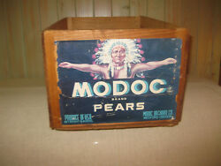 Antique Oregon Crate Modoc American Indian Wooden Pears Fruit Storage Box