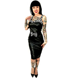 Switchblade Stiletto PVC Leopard Bow Darling Dress Black Retro Rockabilly Pin Up